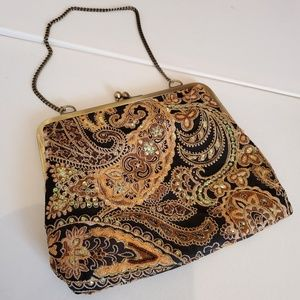 Handbags - Vintage Black Gold Tapestry Sequence Beaded Purse